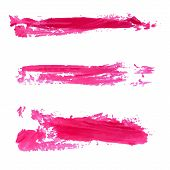 Set of vector red paint stains and textured strokes. Collection of cosmetic swatches.
