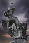 pic of metal sculpture  - Devil sculpture in madrid - JPG