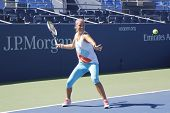 Two times Grand Slam champion Victoria Azarenka practices for US Open 2014