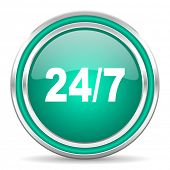 24/7 green glossy web icon