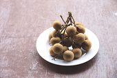 Fresh Longan Fruit In Dish.