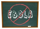 No Ebola words on chalkboard to illustrate curing or stopping the disease or virus