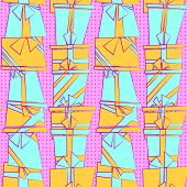 Vector seamless pattern with flat cartoon style present boxes