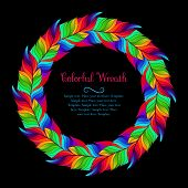 Colorful wreath of rainbow feathers