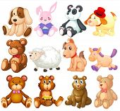 Illustration of many stuffed animals