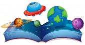 Illustration of a book with planets and UFO on a white background