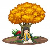Illustration of a girl reading under the tree on a white background