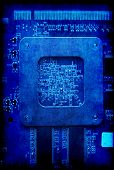 Electronic Circuit Board Blue Grunge Background
