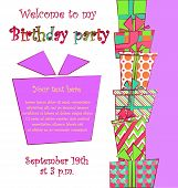 Vector colorful birthday card with a pile of gift boxes in different wrappings on background