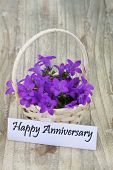 Happy Anniversary card with campanula flower basket