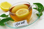 Get well card with lemon tea