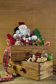Vintage Christmas Decoration With Santa And Wood.