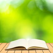 Open Book On Wood Planks Over Abstract Blur Background