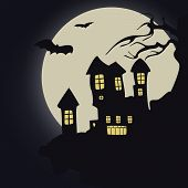 Dark castle. Vector illustration.Halloween