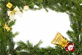 Christmas Frame With White Bow,santa And Yellow Decorations