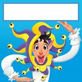 Funny Joker smiling with white frame. Vector cartoon illustration.