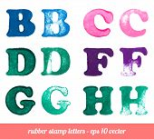 Isolated rubber stamp letters set.