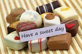 Have a sweet day card with selection of chocolates