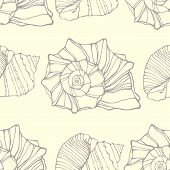 Seamless pattern with decorative shells