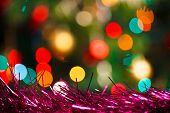 colorful Christmas background with decorations and lights