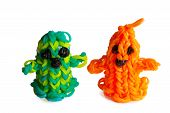 Halloween Rubber Bands Happy Ghosts Orange And Green