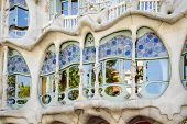 Detail of modernist Casa Batllo facade, designed by Antoni Gaudi, in Barcelona, Spain