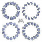 Vector beautiful floral frame. Illustration. Background. Cute wreath made of hand drawn  flowers. Vi