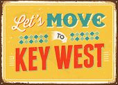 Vintage metal sign - Let's move to Key West - Vector EPS 10.