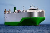 image of car carrier  - Car and Truck Transporter underway at sea - JPG