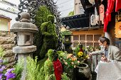 OSAKA, JAPAN - APRIL 18th  :Fudo covered with moss and water washout in Hozenji, Osaka, Japan on 18th April 2014.