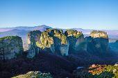 Beautiful panorama of Meteora mountains