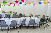 stock photo of wedding feast  - Holiday wedding table decorations in minimalistic style - JPG