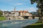 Bad Tolz And Isar River, Bavarian Landscape, Germany