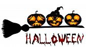 picture of sweeper  - Pumpkins on a sweeper a beautiful vector illustration to Halloween - JPG
