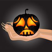 Terrible Pumpkin On A Hand At Witch.halloween.halloween Banner . Vector Illustration