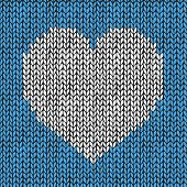 Seamless pattern with knitted heart