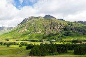 stock photo of dungeon  - View of Langdale Valley Lake District Cumbria on walk to Blea Tarn from campsite by Old Dungeon Ghyll England UK - JPG