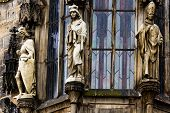 Closeup Of Prague Town Hall Window With Sculptures, Czech Republic