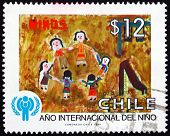 Postage Stamp Chile 1979 Dancing, Childrens Drawing