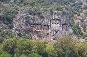 foto of dalyan  - Kaunian rock tombs in Dalyan Ortaca Turkey - JPG