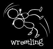 Illustration of a wrestling sports on a black background