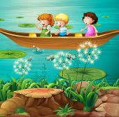 Illustration of children rowing a boat in a pond