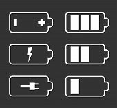 Battery flat icons