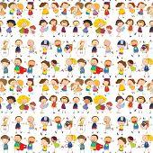 Illustration of seamless children