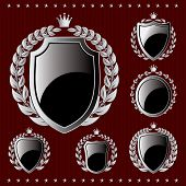 Set Of Vector Silver Emblem With Shield And Wreaths