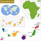 Canary Islands map with high detail and accuracy