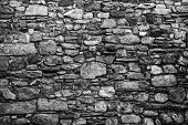 Old Stone Wall. Black And White Image