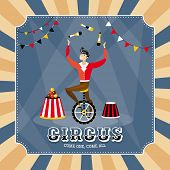 image of juggler  - Vintage vector card with a juggler - JPG