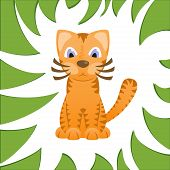 Cartoon cat looks like tiger in frame of jungle grass