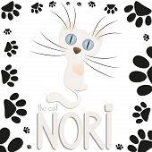 Funny white cartoon cat Nori, cat paw footprints
